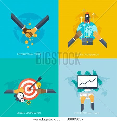 Flat hands. Global cooperation and international trade concept background. Business and moneymaking.