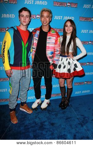 LOS ANGELES - MAR 26:  Sterling Beaumon, Jared Eng, Kelli Berglund at the Just Jared's Throwback Thursday Party at the Moonlight Rollerway on March 26, 2015 in Glendale, CA