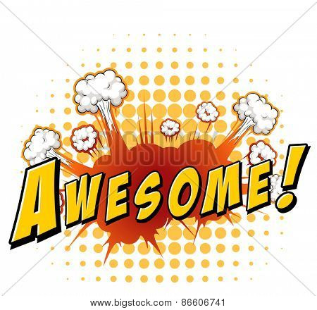 Word awesome with explosion background poster