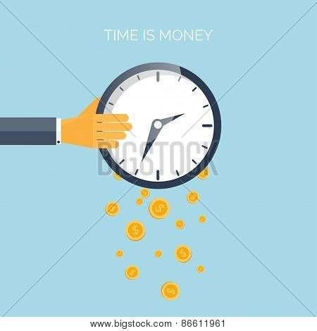 Flat time is money concept background. Movey saving. Time management
