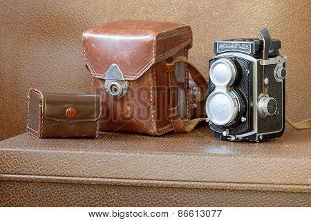 Retro Camera Rollieflex And Original Boxes
