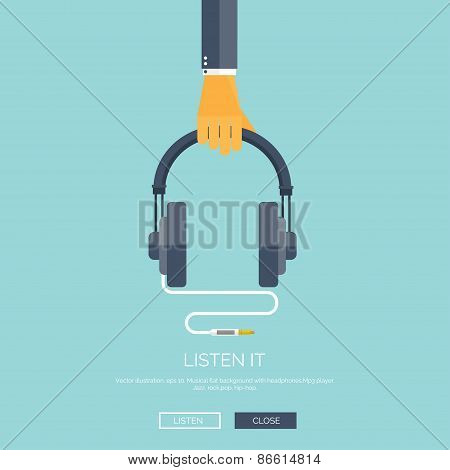 Vector illustration. Flat background with hand and headphones. Music, mp3. Audio concept background.