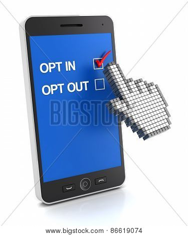 Opt in concept, 3d render