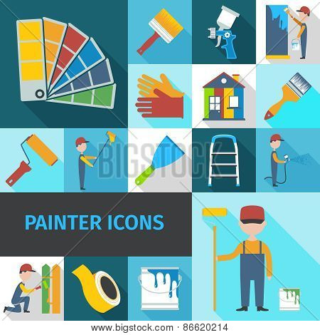 Painter cartoon character man flat shadow pictograms set with pail brush and ladder abstract isolated vector illustration poster