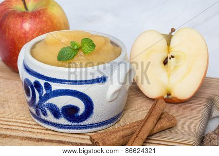 Applesauce With Cinnamon In Stoneware Bowl