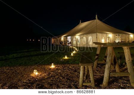Wedding Marquee Tent at Night