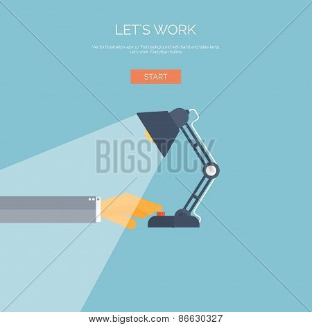 Vector illustration. Flat background with hand and table lamp.