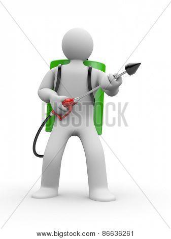 Pest exterminator with sprayer