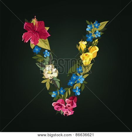 V letter. Flower capital alphabet. Colorful font. Uppercase.  Vector illustration.