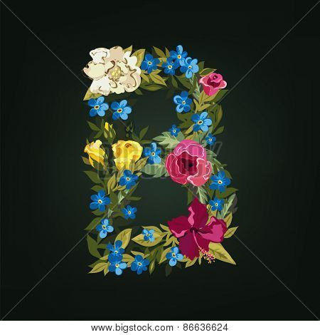B letter. Flower capital alphabet. Colorful font. Uppercase.  Vector illustration.