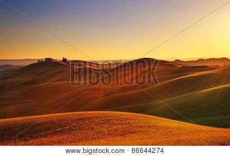 Tuscany, Sunset Rural Landscape. Rolling Hills, Countryside Farm, Trees.