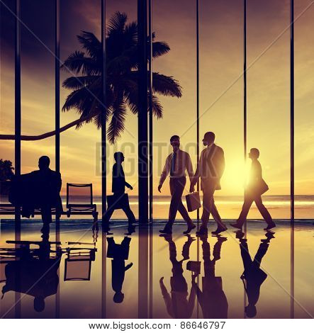 Business People Travel Beach Trip Airport Terminal Concept poster