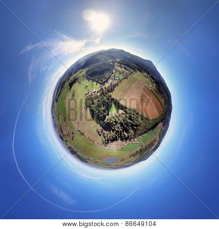 Round Planet Panorama taken from above