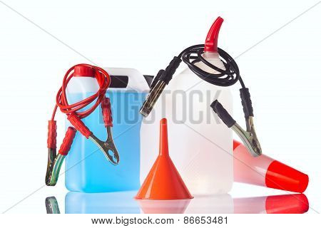windshield washer fluids and jump start cables poster