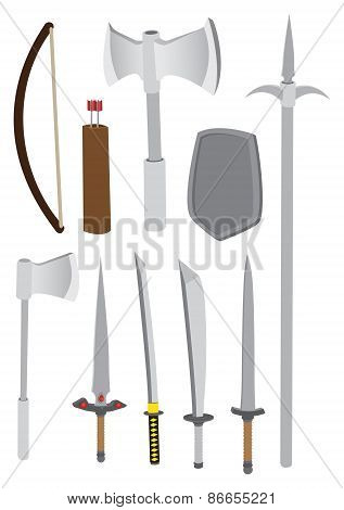 Premodern Combat Weapons Vector Illustration
