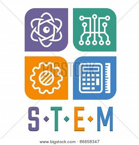 Vector Illustration Of Science, Technology, Engineering And Math Education