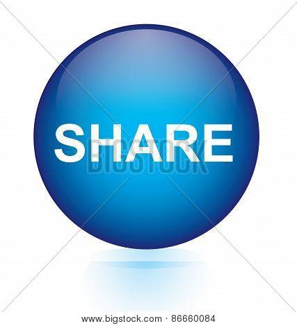 Share blue circular button