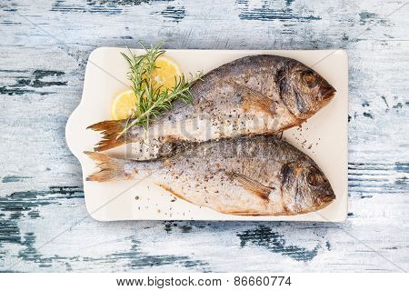 Delicious Grilled Sea Bream Fish.