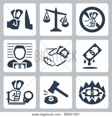 Vector Corruption Related Vector Icon Set