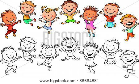 Happy Kids Laughing and Jumping with Joy