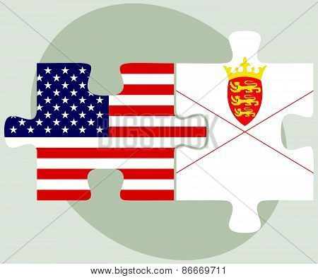 Usa And Bailiwick Of Jersey Flags In Puzzle