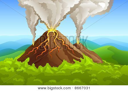 Fuming Volcano Among Green Forest