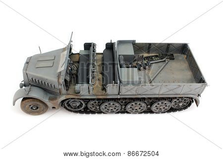 Model gray half-track view from the left side on top poster