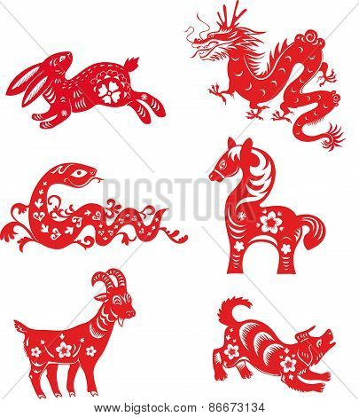 Set of Chinese zodiac animals