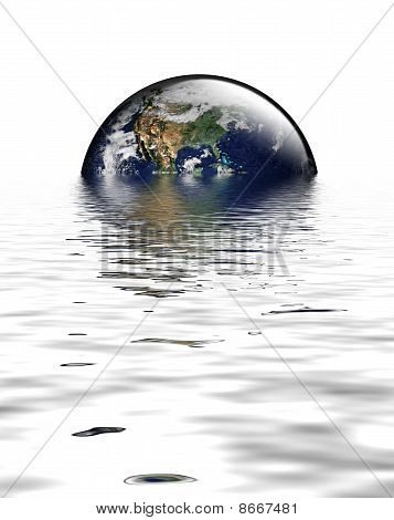 Earth As Glass Globe With Flood Waters And Usa Featured