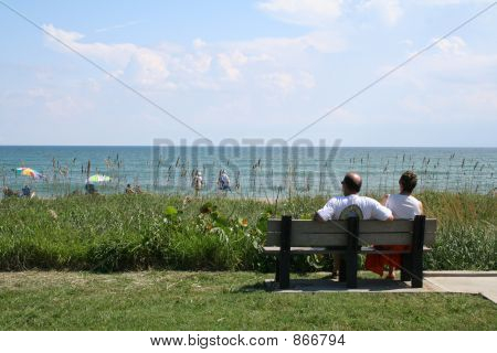 Couple on Bench at Beach