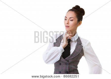 Confident thinking Businesswoman Isolated on White Background