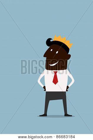 Cartoon businessman in golden crown