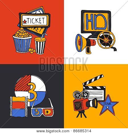 Cinema retro film house tickets 3d glasses with movie projector four flat icons composition abstract vector illustration poster