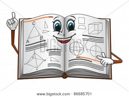 Smiling open textbook cartoon character pointing on a page with geometric shapes suitable for education concept or mathematic lessons design poster