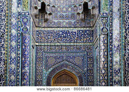 BUKHARA, UZBEKISTAN - MARCH 14, 2015: Facade of an ancient mosque Kalon