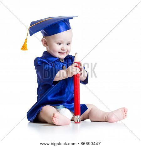 Funny baby in academician clothes