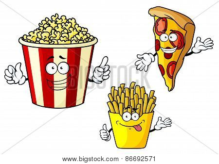 Pizza, french fries, popcorn cartoon characters