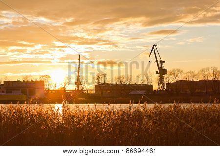Sunset on the outskirts of Gdansk, Poland