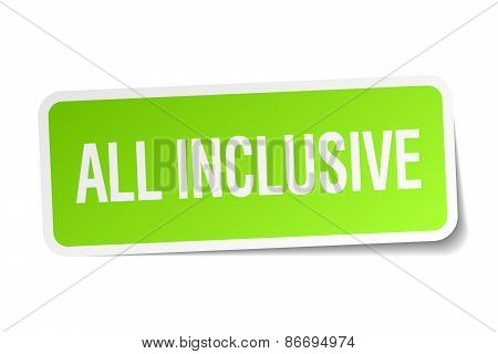 All Inclusive Green Square Sticker On White Background