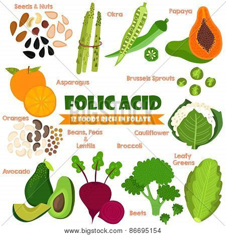 Vitamins and Minerals foods Illustrator set 14.Vector set of 12 foods rich in folate. Folic Acid-nuts seeds asparagus okra oranges beans peas lentils avocadobrussels sprouts beets broccoli and cauliflower poster
