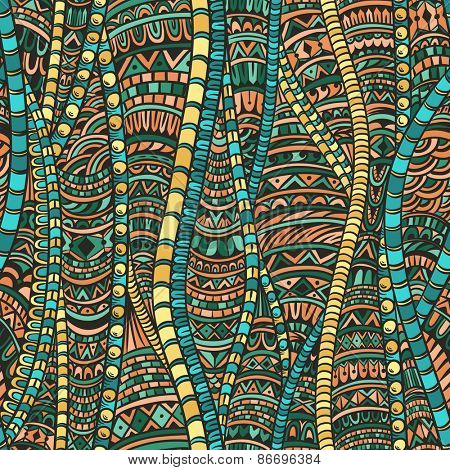 Abstract seamless pattern in ethnic style. Zentangle.