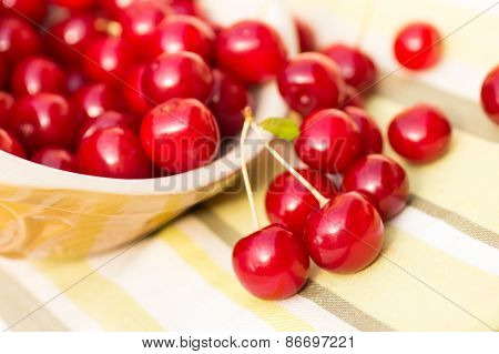 Organic Cherries in a Bowl