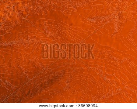 Abstract topographic map in orange colors