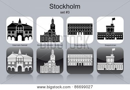 Landmarks of Stockholm. Set of monochrome icons. Editable vector illustration.