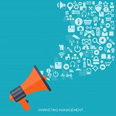 Flat loudspeaker icon. Administrative management concept. Global communication and social media. poster