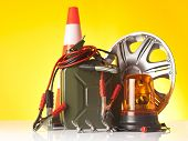 motor oil canister and car accessories, car service concept poster