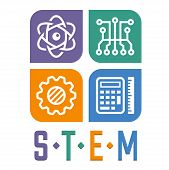 Vector illustration of Science Technology Engineering and Math education poster