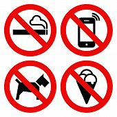 No smoking No cell phone No dogs and No eating prohibited signs isolated on white background poster