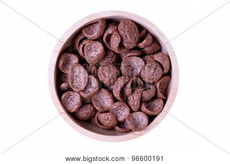 Choco Cereal In Wooden Bowl