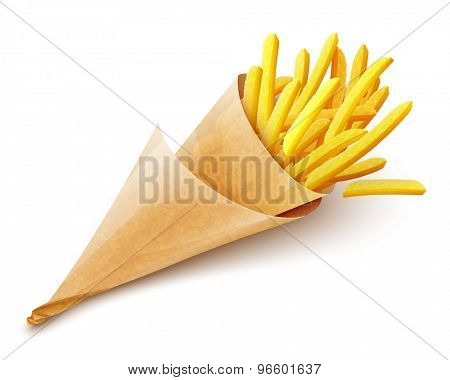 French fries potatoes in paper bag. Eps10 vector illustration. Isolated on white background